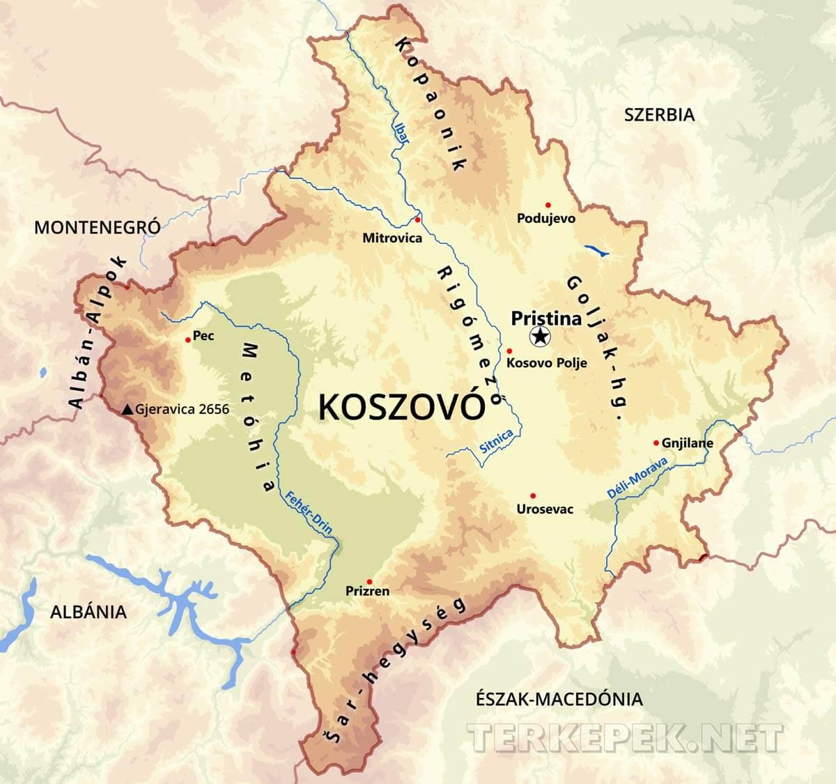 szerbia domborzati térkép Koszovó térképek szerbia domborzati térkép